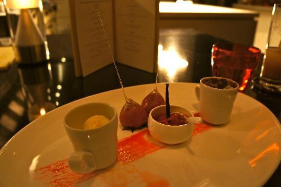VIU: Crepe au Gratin with Orange compote rum raisin ice cream & Valrhona dark chocolate soufflé