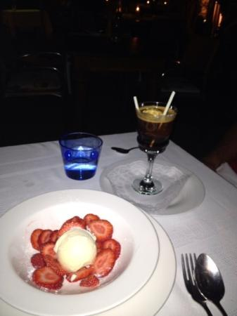 Bacco: desserts. home made vanilla ice cream once with strawberrys once with coffee liquor and shot of