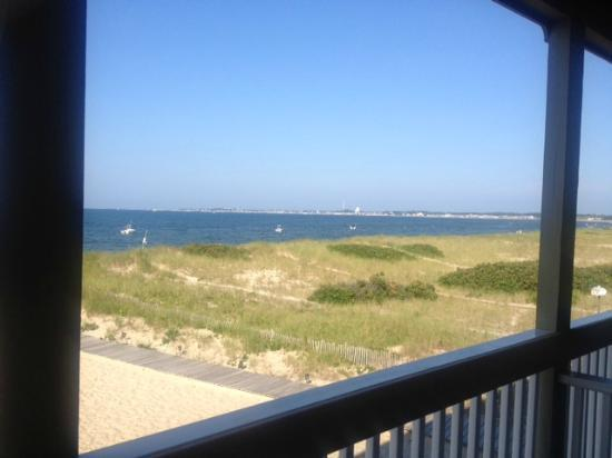 Sandbars on Cape Cod Bay: View of Provincetown from our balcony