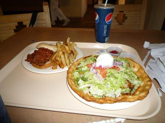 Far View Terrace Restaurant: Navajo Taco and pulled pork sandwich with fries