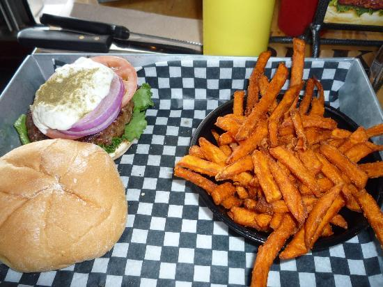 The Works Gourmet Burger Bistro: milos shmilos & sweet potato fries