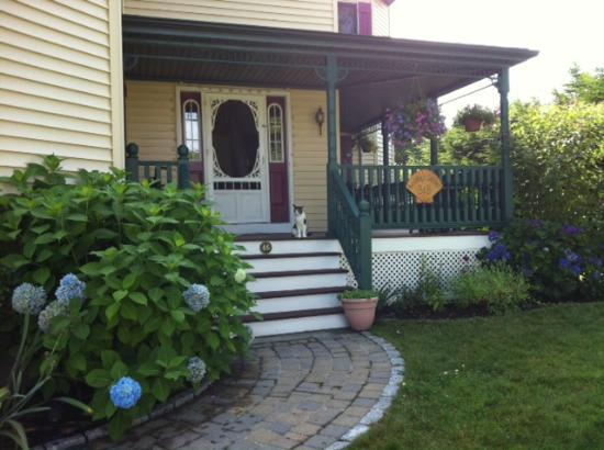 Best Kept Secret B & B: Welcoming front porch, complete with cat!