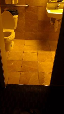 Scottish Inn Allentown: Our flooded bathroom and a view of the toilet mess