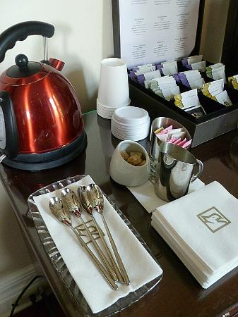 The Mansion on Delaware Avenue: Tea Setup in Fireside Salon