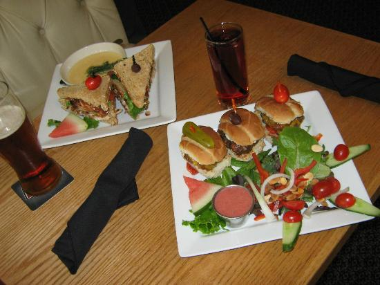 Driftwynd Bistro: Great lunches, Chicken Club Sandwiches with Cheese and Broccoli Soup, perhaps, Angus Mini Burger