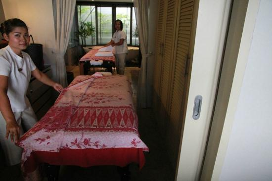 The Pavilions Phuket: setting up for massages in the dressing room/ bathroom