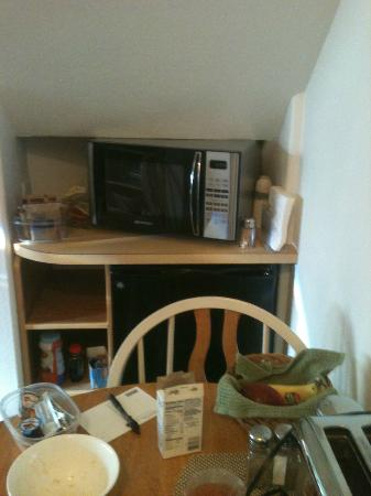 Alaska Chalet Bed & Breakfast: Microwave and little fridge in Garden Suite