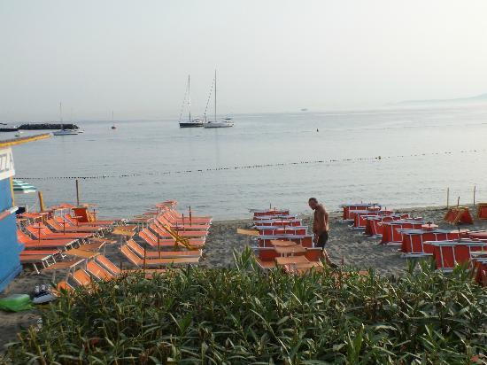Hotel Rivamare: questa è la vista dalla veranda dove si fa colazione..è lo stabilimento dell'hotel