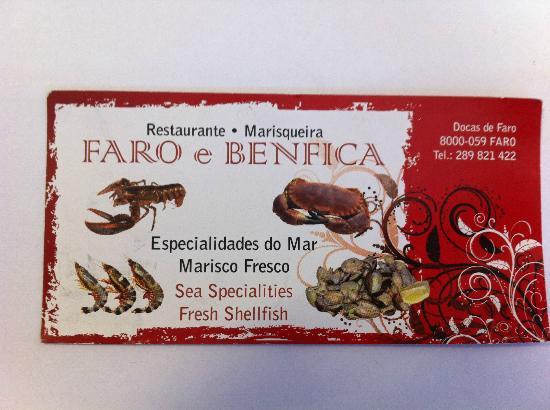 Faro e Benfica Restaurante Marisqueira: Business Card