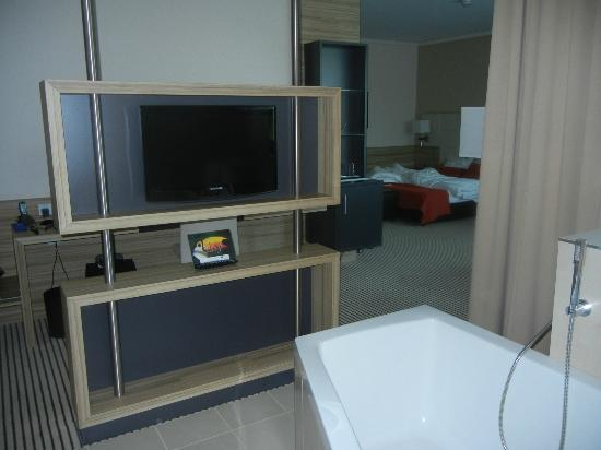 BEST WESTERN PREMIER Hotel Regensburg : Flat screen for tub, another in bedroom