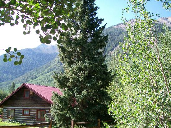 Mount Elbert Lodge: View of mountain peaks from porch on Prospector Cabin and The Barn Cabin.
