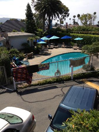The Tides Laguna Beach: View of pool area from room 205.