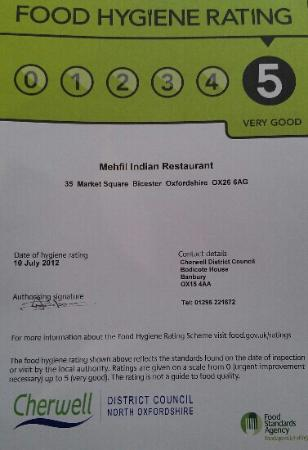 5 Star Food Hygiene Rating Certificate Picture Of Mehfil