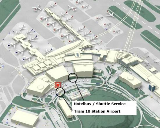 Royal Hotel Zurich: Map with Airport, Tram Lines and Bus Shuttle
