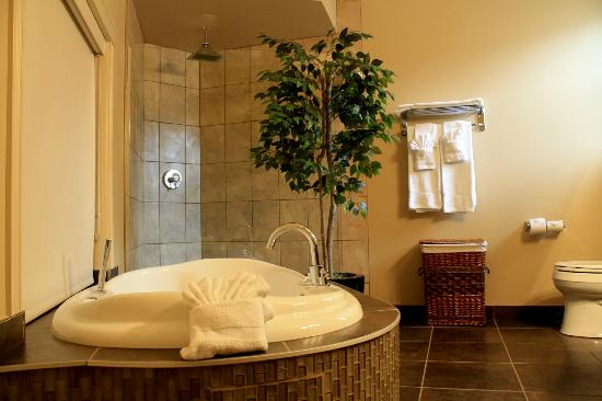 Ciliegia Villa: Bathroom with Jacuzzi tub and walk in rain shower