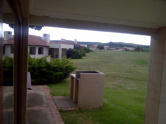 Midlands Saddle & Trout Resort : View from the unit veranda, with braai in for front