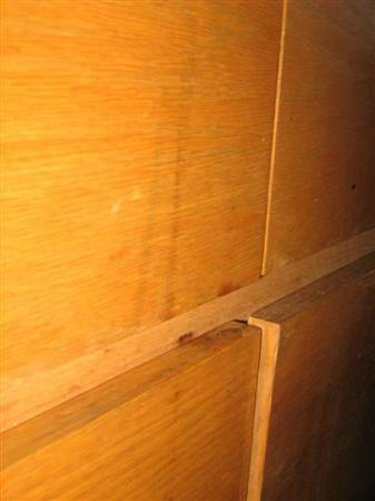 Americas Best Value Inn- Benton Harbor: Front of Dresser w/ Dried, Splattered Dark Running Liquid
