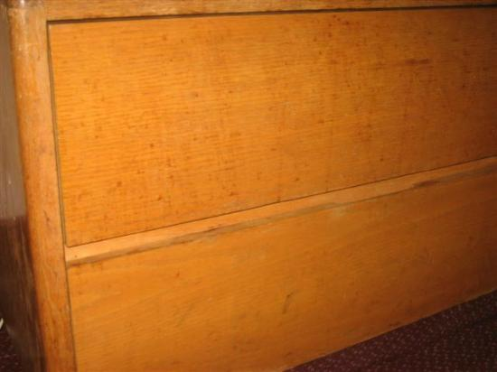 Americas Best Value Inn- Benton Harbor: Front of Dresser with Dried Splattered Running Dark Liquid