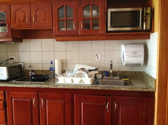Hotel Condovac la Costa: Kitchen (white container holds paper towels)