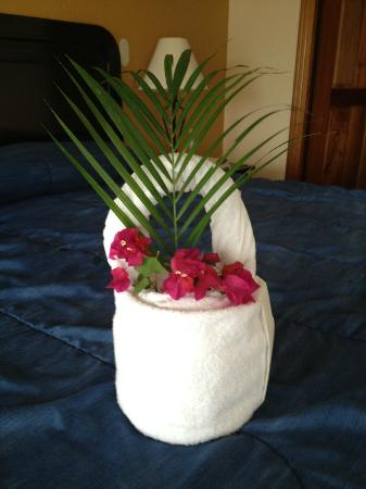 Hotel Condovac la Costa: Lovely basket made by housekeeping from clean towels