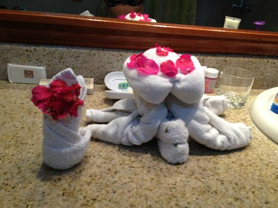 Hotel Condovac la Costa: Turtle made by housekeeping from clean towels