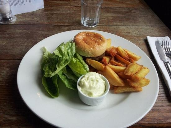 Helen Browning's Royal Oak: beef burger and chips