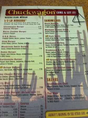 Chuck Wagon of Mackinac: The menu