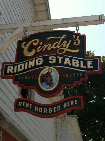 Cindy's Riding Stable Market Street : Look for this sign- the stables are one street behind and parallel to the main street