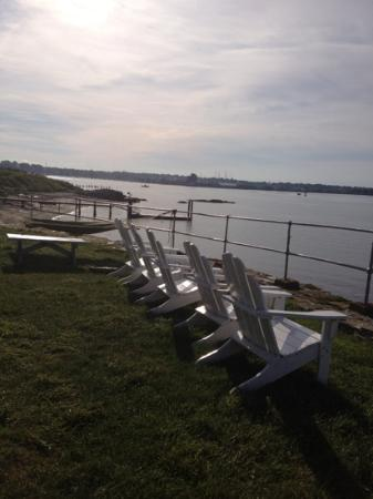 Rose Island Lighthouse: these chairs and hammock are VERY comfortable!
