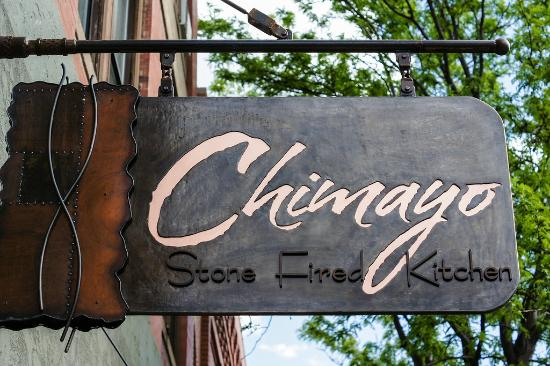 Chimayo Stone Fired Kitchen : Custom steel signage to match our design theme
