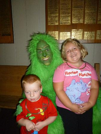 The Stephen Foster Story: Grandson is not sure of the Grinch up close.