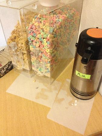 Microtel Inn & Suites by Wyndham Brush: cereal choices with dirty table