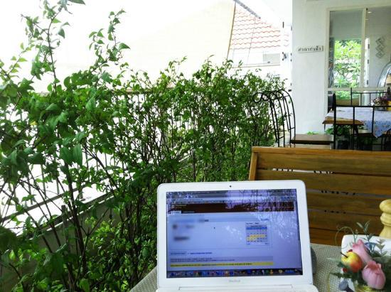 Browsing The Net On Free Wifi On The Inner Patio @ 132 Riverside Cafe At The Nonthaburi Pier