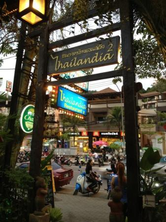 Thailandia is located opposit Mc Donald & Aonang Cliff Beach Hotel.