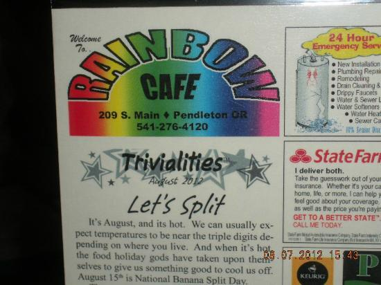 Rainbow Cafe: Name Item