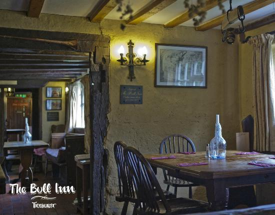 The Bull Inn: Our dining area looking in to the Bar.
