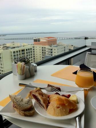 Very nice breakfast outside at 25th floor