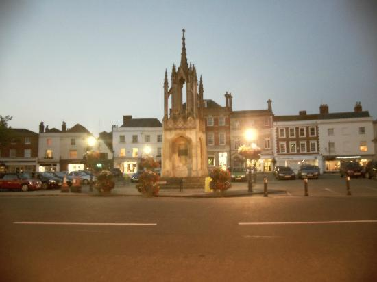 The Bear Hotel Market Place: looking across road to town square at night from hotel entrance