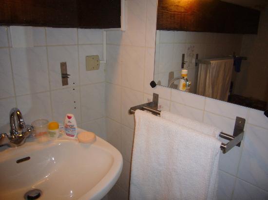 "Hotel l'Etendard de Vaujany : de ""grandioze"" badkamer (let op de spiegel opzij !!!)"