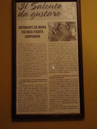 Osteria Zia Maria: articolo dedicato