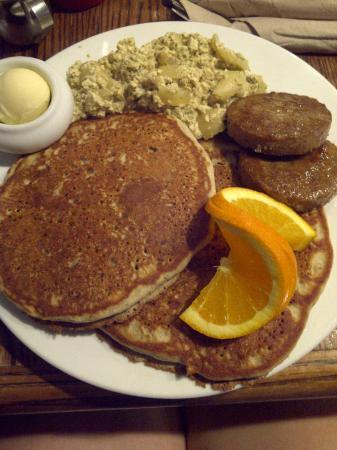 """Fresh: Vegan Gluten-Free Pancakes, scrambled """"eggs"""" and """"sausages"""""""