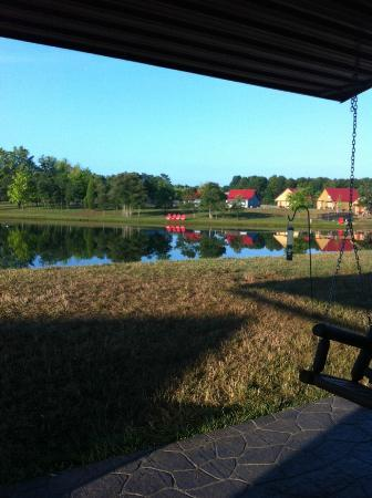 Santa's Lakeside Cottages: View from #7 (looking at cottages 12-16)