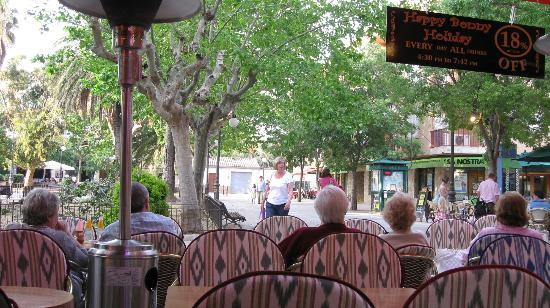 Bony's Bar: looking out on to the square from the bar