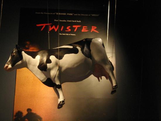Oklahoma History Center: Twister movie cow hanging from ceiling