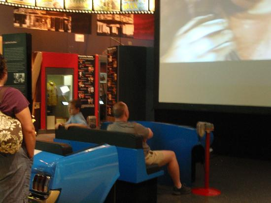 Oklahoma History Center: car to sit in & watch a drive-in movie that was playing