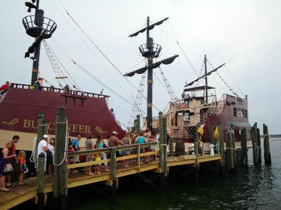Buccaneer Pirate Cruise: Our ship awaits us