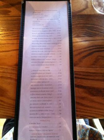 Bridge: wine list