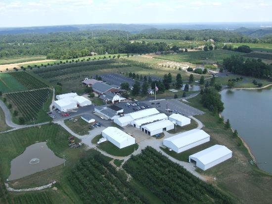 Huber's Orchard & Winery: Aerial View of Huber's Orchard and Winery Property