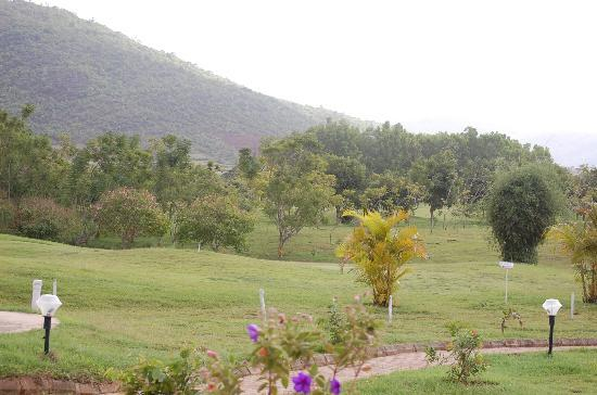 Chikmagalur Golf Club: View from the restaurant looking into the green.