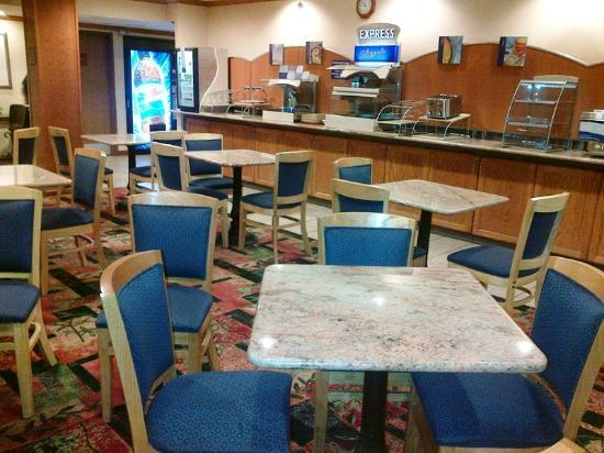 Holiday Inn Express Brighton: View of breakfast bar (taken at night, no food out)